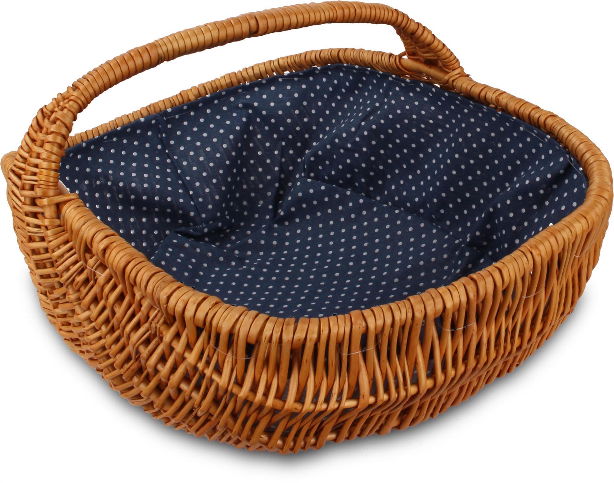 feiledi Trade Picknick-Korb mit Griff handgewebt aus Holz Korb-Aufbewahrungsbeh/älter Korb mit Abdeckung f/ür Home Camping Picknick Party im Freien beweglichen