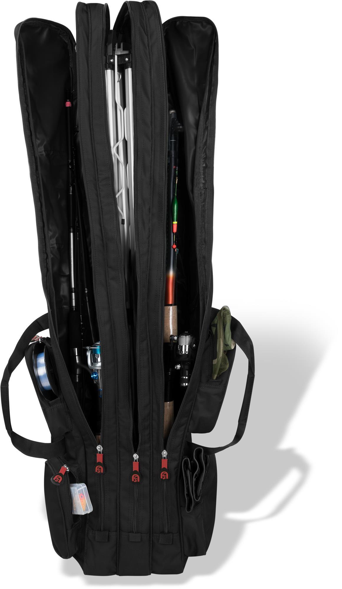 3 Kammern für 6 Ruten Rutenrucksack Angeltasche Rutentasche Rutenfutteral 160cm